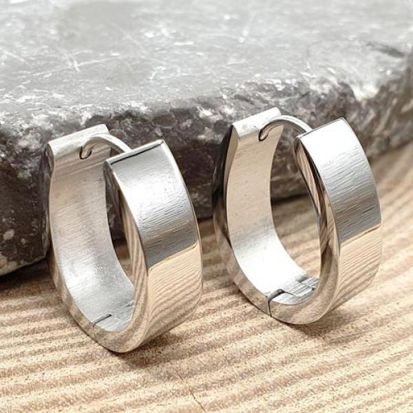 Вишукані жіночі сережки овальної форми з медичної сталі 7 мм 176056