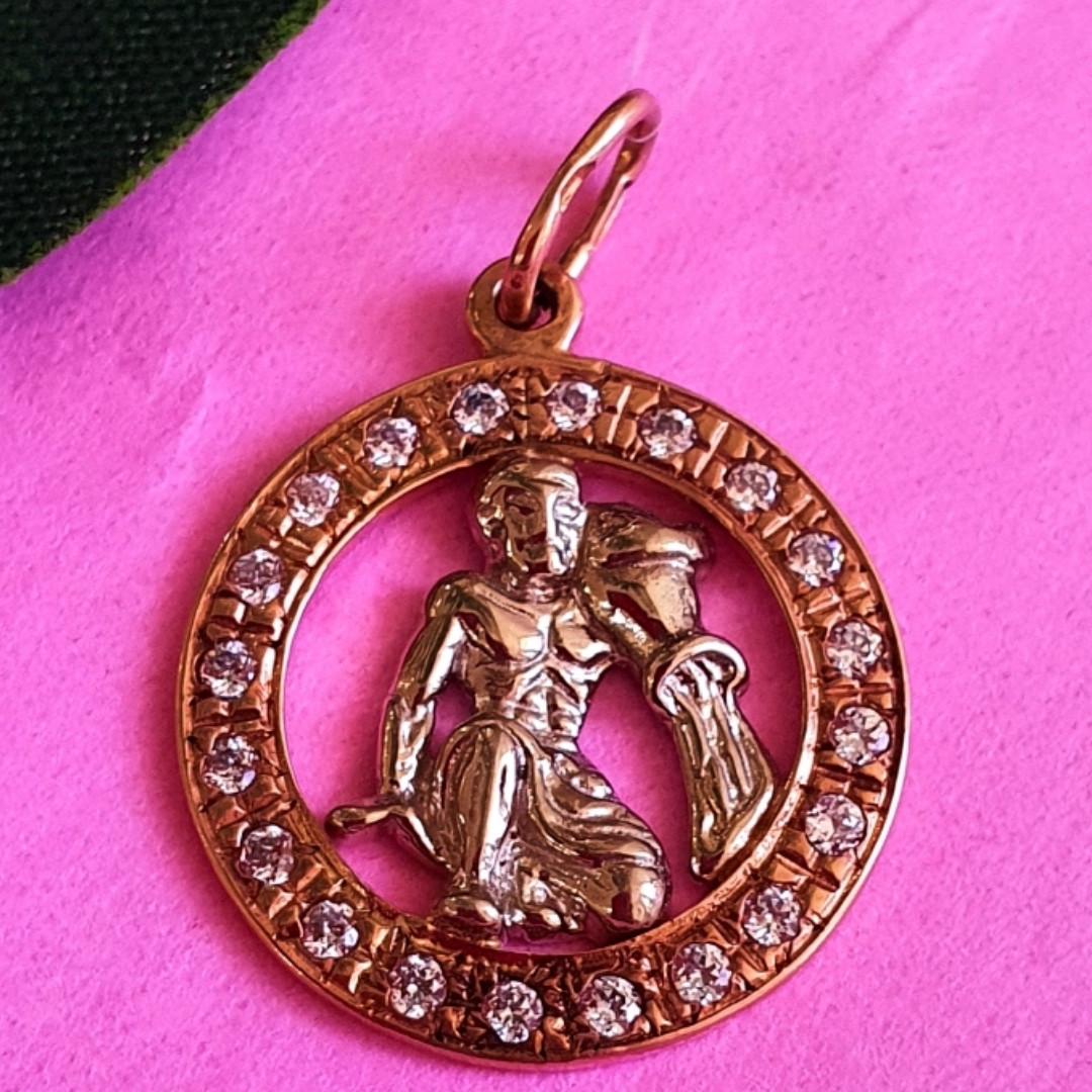 Золотой кулон Водолей - Золотая подвеска знак зодиака водолей