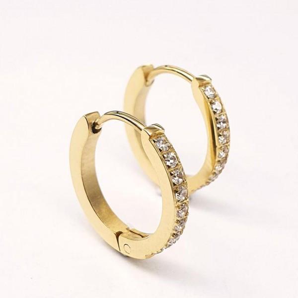Изящные круглые женские серьги-кольца из медицинской стали 9 камней 2 мм 176057