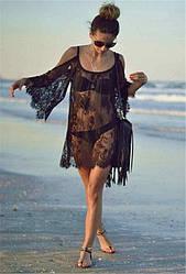 Черная пляжная туника, Женская пляжная туника, Гипюровая пляжная туника, Туника женская пляжная, Летняя пляжная туника,