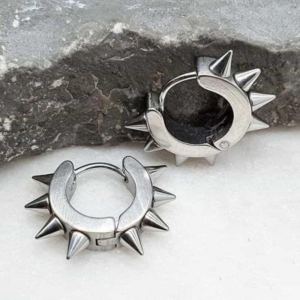 Круглые серьги-кольца из медицинской стали Стальные шипы унисекс 4х9 мм 176059