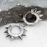 Круглі сережки-кільця з медичної сталі Сталеві шипи унісекс 4х9 мм 176059
