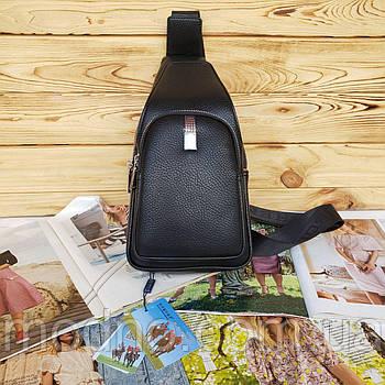 Мужская нагрудная сумка слинг через плечо чёрная