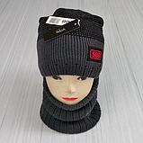 М 94049 Комплект для хлопчика, підлітка шапка з закрепкой на флісі і снуд, різні кольори, фото 3