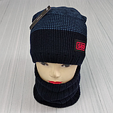 М 94049 Комплект для хлопчика, підлітка шапка з закрепкой на флісі і снуд, різні кольори, фото 4