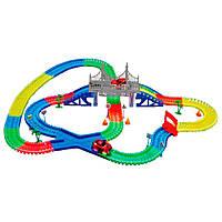 Детская светящаяся игрушечная дорога Supretto Magic Tracks 360 предметов с 2 машинками (5486)