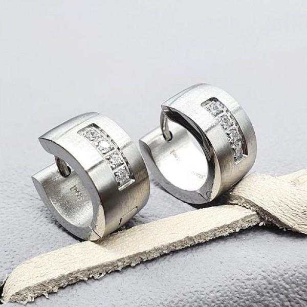 Стальные женские серьги-кольца Четыре камня 176066