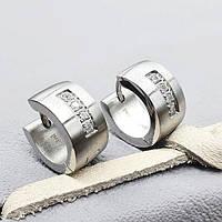 Стальные женские серьги-кольца Четыре камня 176066, фото 1