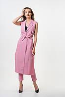 Костюм женский Este длинный кардиган без рукавов с брюками розовый