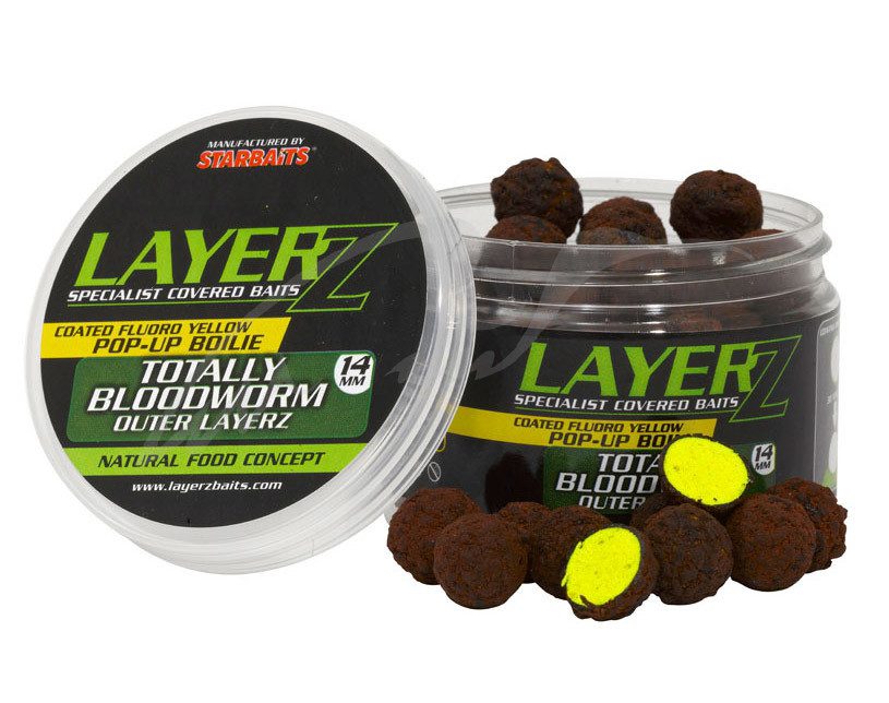 Бойли Starbaits LayerZ Pop-Up Totally Bloodworm Fluoro Yellow 14mm 60g