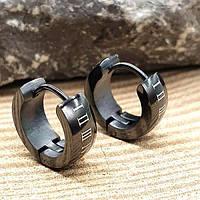 Тематические серьги-кольца унисекс из черной медицинской стали Римские цифры 176069