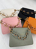 Сумка стильная с цепочкой чёрный , белый , серо-зелёный , розовый, рыжий., фото 3