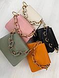 Сумка стильная с цепочкой чёрный , белый , серо-зелёный , розовый, рыжий., фото 4
