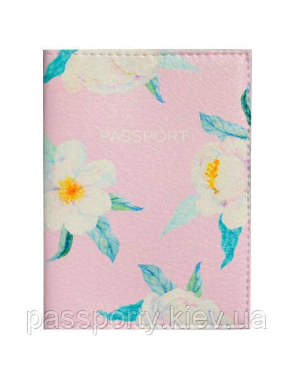 Обложка на паспорт Цветы белые