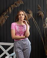 Жіноча футболка з вишивкою у ніжно рожевому кольорі «Лілея», фото 1