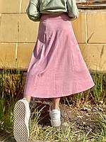 Юбка миди женская стильная городская с разрезом пудровая L