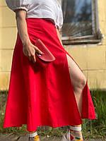 Юбка миди женская стильная городская  с разрезом красная L