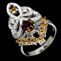Серебряное кольцо с турмалином коричневым Дравит, 1463КЦТ
