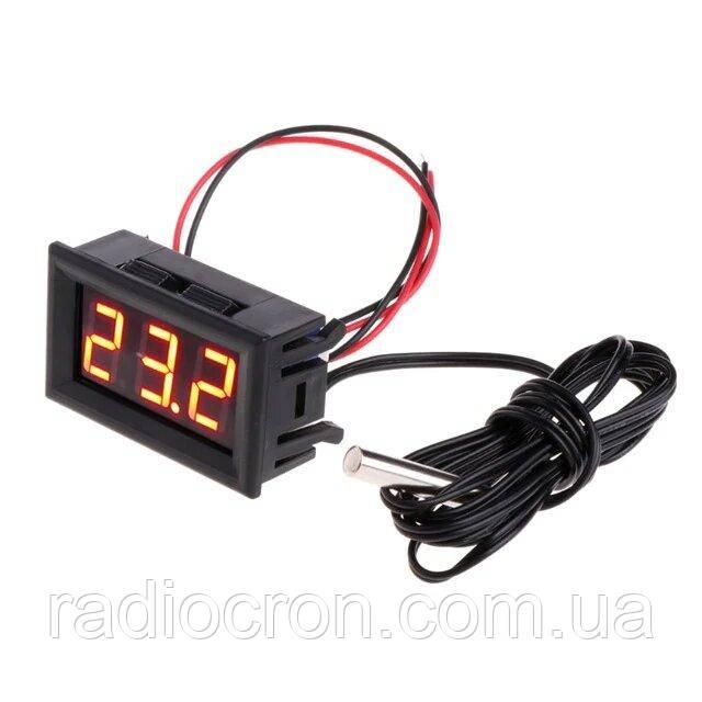 Цифровий термометр -50~110°C, DC 5-12В, з виносним датчиком, червоний