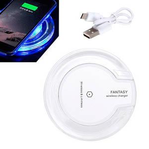 Qi передатчик прозрачный LED беспроводная зарядка телефона Fantasy, белая