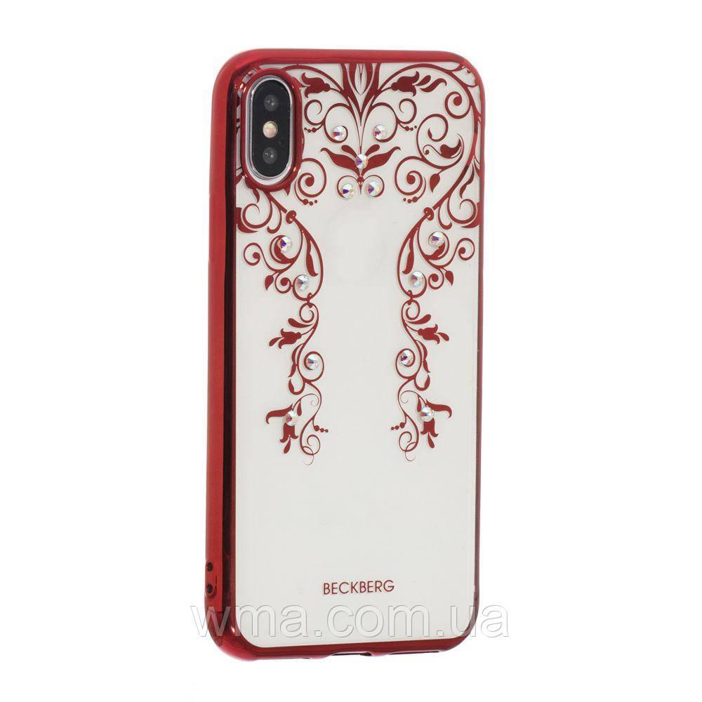 Чехол Beckberg Monsoon Series for Apple Iphone X Цвет Цветочная Лоза, Красный