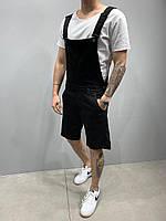 Стильные мужские шорты-комбинезон джинсовые 2y Premium черные - 30, 31, 32