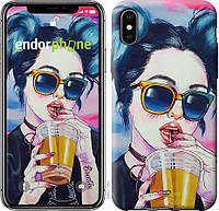 Пластиковый чехол Endorphone на iPhone XS Арт-девушка в очках 3994m-1583-26985, КОД: 1753879