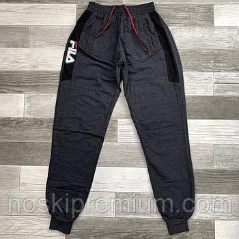Штаны спортивные мужские хлопок с манжетом Fila, размеры 46-54, тёмно-серые, СМ 0110/04
