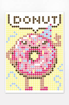 """Картина по номерам стикерами в тубусе """"Пончик"""", 1200 стикеров 1869, 33х48 см, фото 2"""