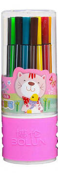 Фломастер тубус 24 цвета 1668-24-P (Розовый)
