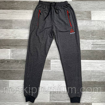 Штаны спортивные мужские хлопок с манжетом Reebok, размеры 46-54, тёмно-серые, СМ 0110/02