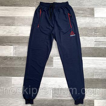 Штаны спортивные мужские хлопок с манжетом Reebok, размеры 46-54, тёмно-синие, СМ 0110/01