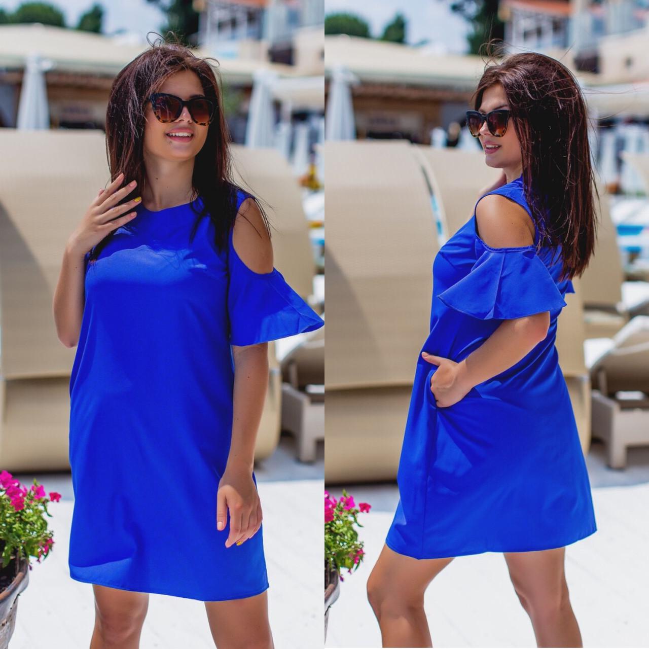 Летнее платье трапеция разные цвета р.48,50,52 код 2918Р