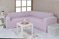 Натяжной Чехол на угловой диван с подложками
