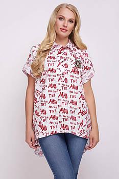 Женская хлопковая рубашка Ангелина газета красная / размер 48, 50, 52, 54, 56, 58