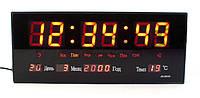 Часы настенные MHZ 3615 LED красный циферблат Черные 008427, КОД: 1766097