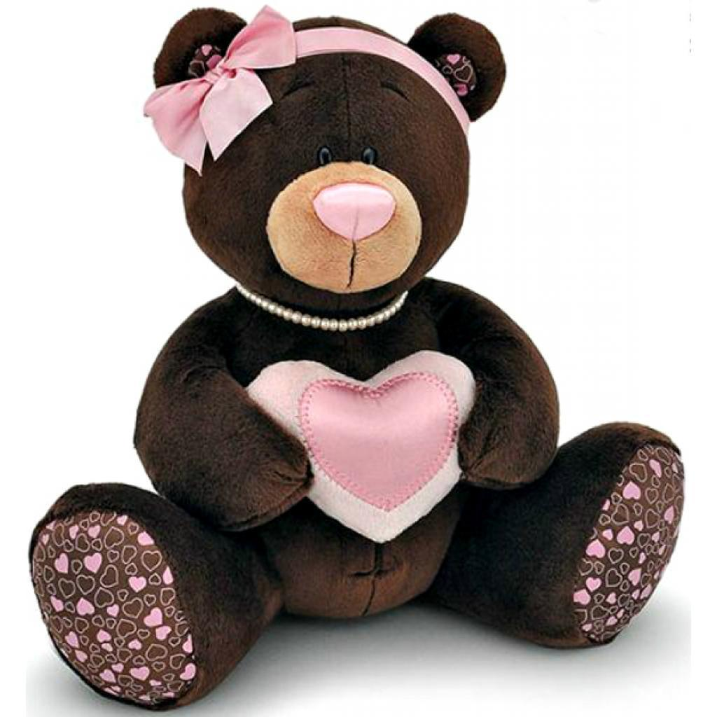 Мягкая игрушка ORANGE Мишка Milk с сердцем сидячий 25 см (M003/25)