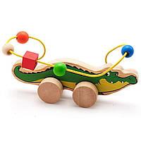 Развивающая игрушка Мир деревянных игрушек Лабиринт-каталка Крокодил (Д362)