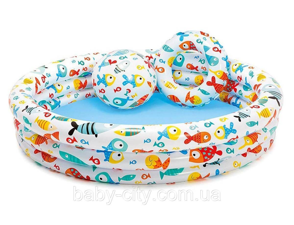 Набор надувной Intex Бассейн с мячом и кругом.