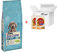 Dog Chow Puppy Large Breed 14кг + 20шт паучей Purina One