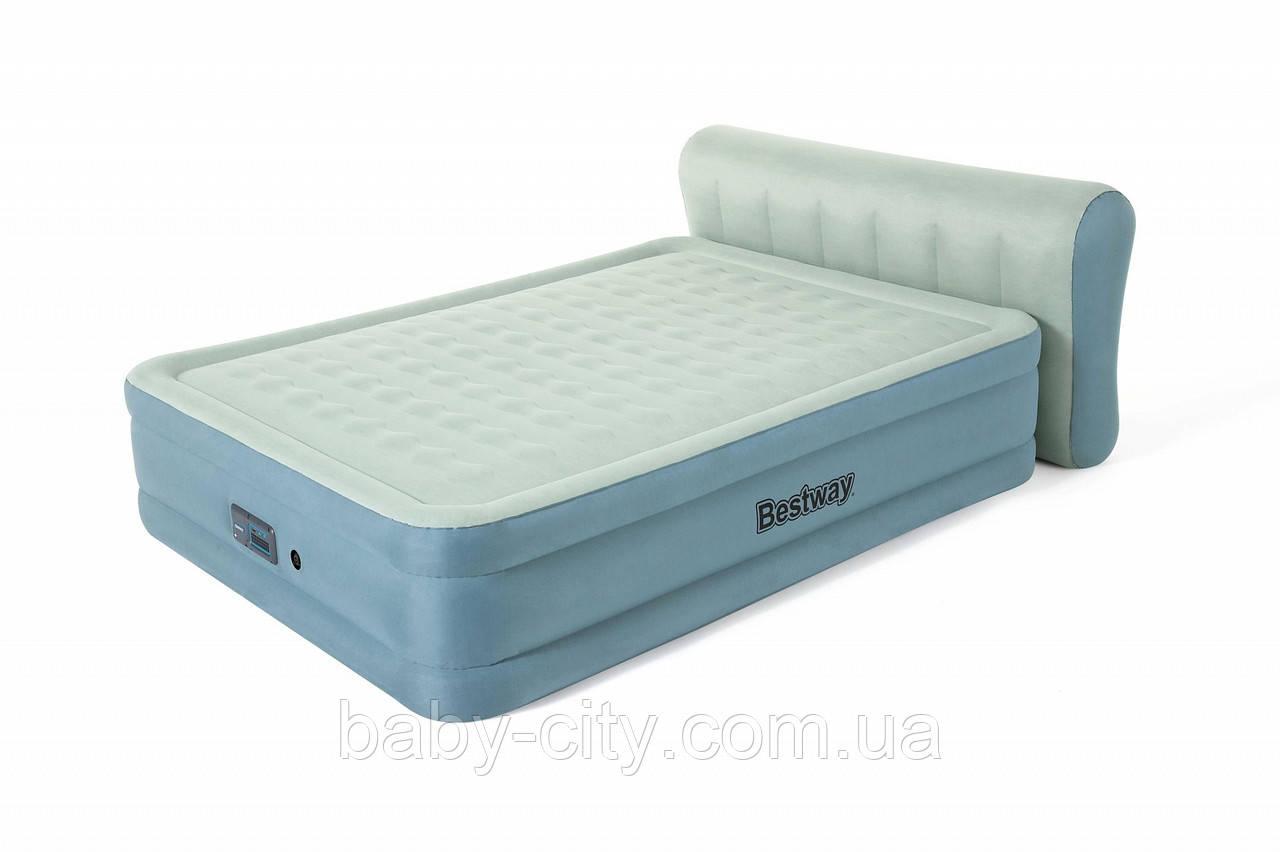 Надувная двухспальная кровать со спинкой Bestway 69060 (229-152-79 см)