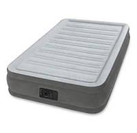Односпальная велюровая надувная кровать Intex 67766, (99*191*33 см), со встроенным электронасосом, фото 1