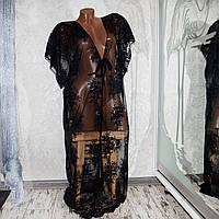 Размер 50-52. Черная пляжная кружевная туника, длинный халат-сетка с вышивкой