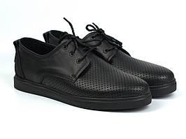 Взуття великих розмірів чоловіча літні кросівки чорні шкіряні кеди перфорація Rosso Avangard BS Slipy Black