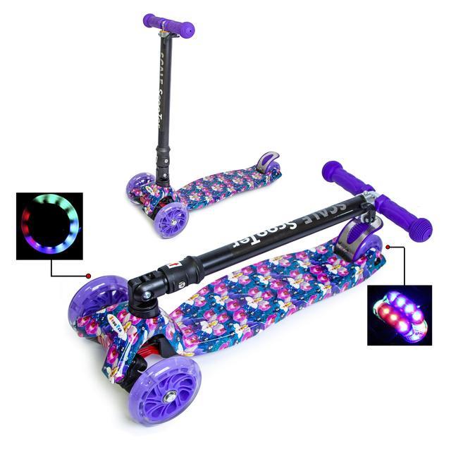 """Самокат для девочек MAXI со складным рулем и колесами с подсветкой """"Орхидея"""""""