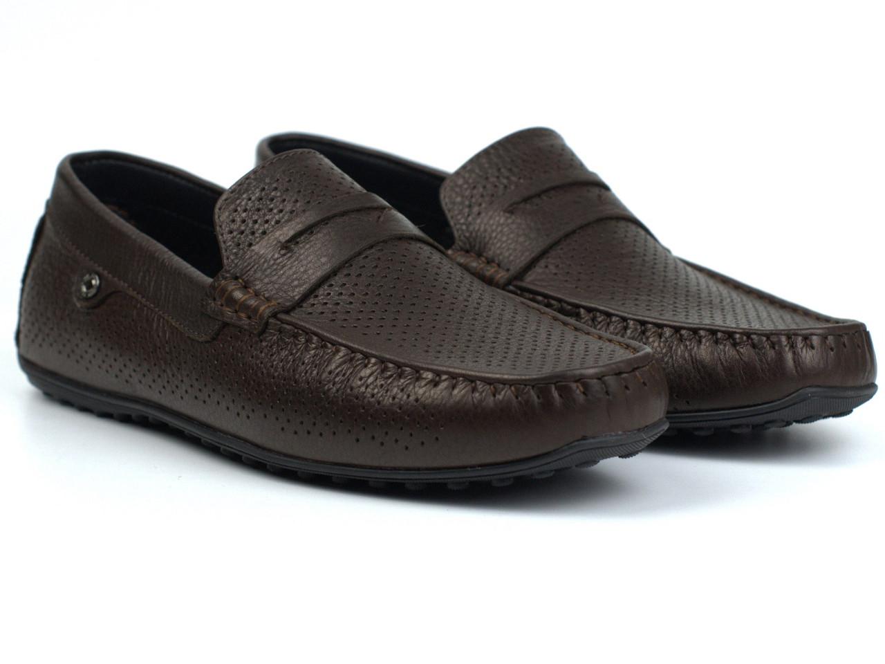 Мокасины мужские коричневые кожаные перфорация летняя обувь больших размеров ETHEREAL BS ChelseaBrownPerfLeath