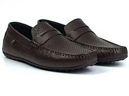 Мокасини чоловічі коричневі шкіряні перфорація літнє взуття великих розмірів ETHEREAL BS ChelseaBrownPerfLeath