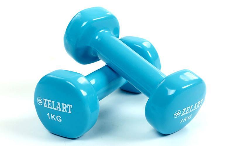 Гантели planeta-sport для фитнеса с виниловым покрытием Zelart Beauty TA-5225-1 2 x 1 кг Голубой