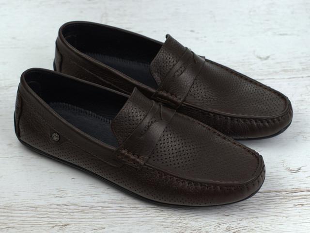 Мокасины мужские коричневые кожаные перфорация летняя обувь больших размеров ETHEREAL BS Chelsea Brown Perf Leather by Rosso Avangard1206810654