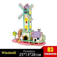 Ветряная мельница деревянный конструктор - 3D пазл